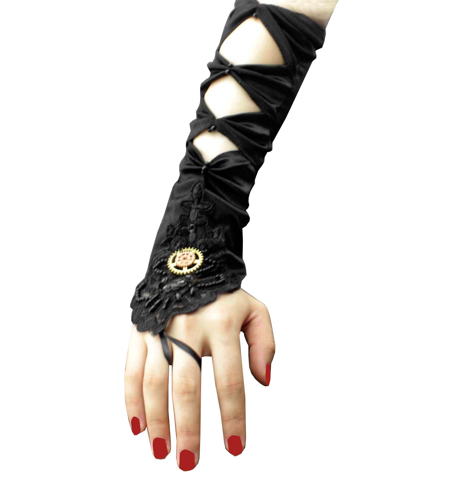 1 Pair Women's Steampunk Goth Custome wedding Long Satin Gloves