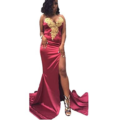 Yuxin 2017 Gold Lace Burgundy Prom Dress Long Mermaid Evening Dresses Front Slit Party Gowns