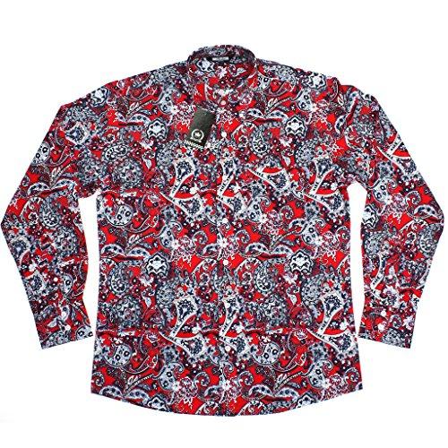 Herren Relco Rot Marineblau Paisley Langarm Knöpfe 100% Baumwollhemd