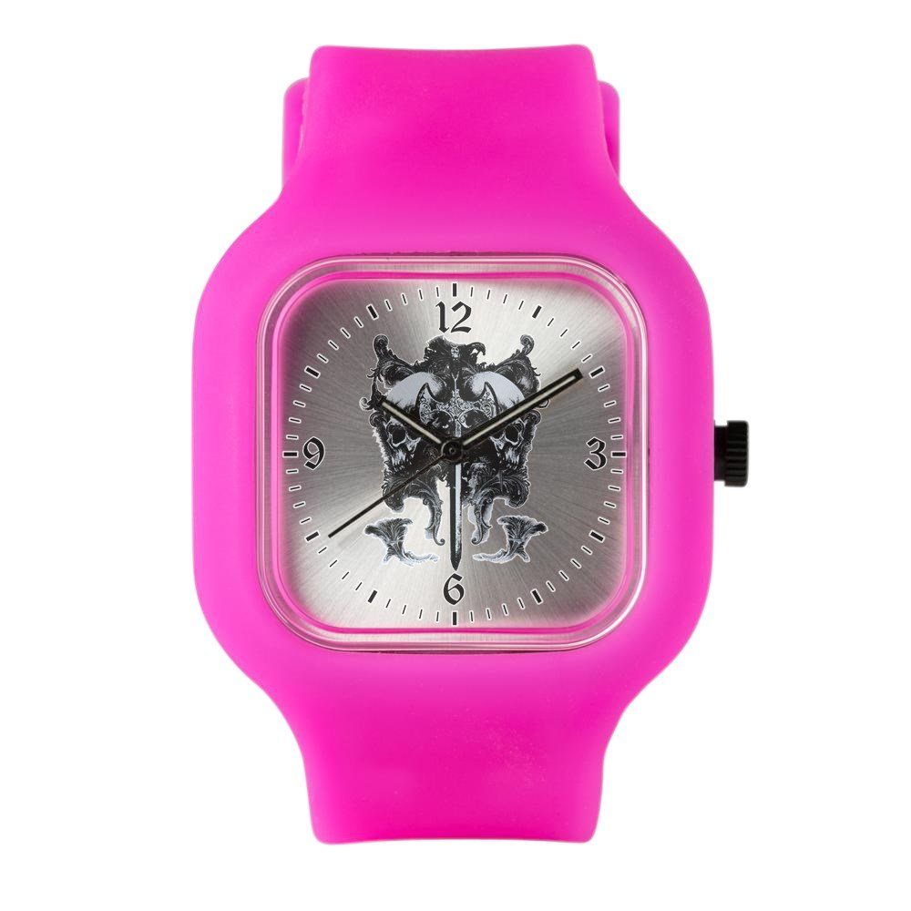 Bright Pink Fashion Sport Watch Dragon Sword and Skulls Medieval