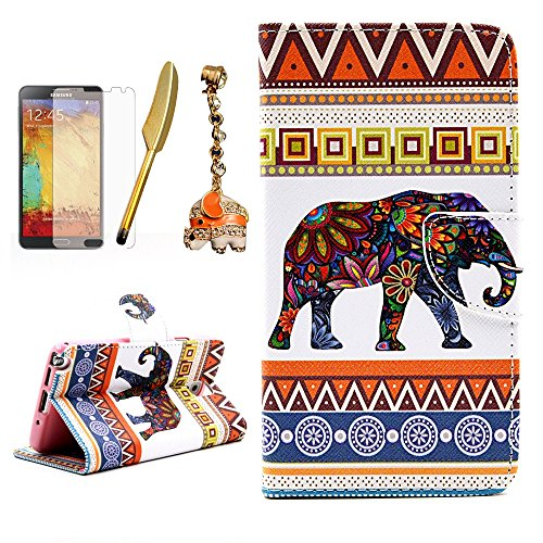 Note 3 Case,Samsung Galaxy Note 3 Case - Mavis's Diary PU Leather Wallet with Card Holders Kickstand Magnetic Flip Flower Elephant Tribal Folio Cover & Screen Protector & Bling Dust Plug & Feather Pen