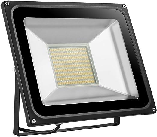 Foco proyector LED 100W para exteriores, Blanco cálido 2800K-3500K ...