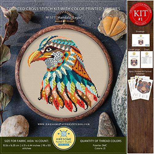 Mandala Eagle #K577 Cross Stitch Embroidery Kit | Funny Animals Cross Stitch Kits | Embroidery Kits | Needlepoint | Counted Cross Stitch | Stitch Patterns
