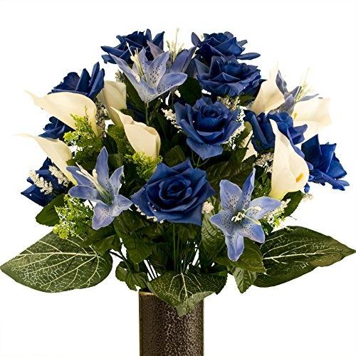 Blue Rose with Blue Tiger Lily, Artificial Bouquet, featuring the Stay-In-The-Vase Design(c) Flower Holder (MD2072) (In Silk Vases Arrangements Flower)