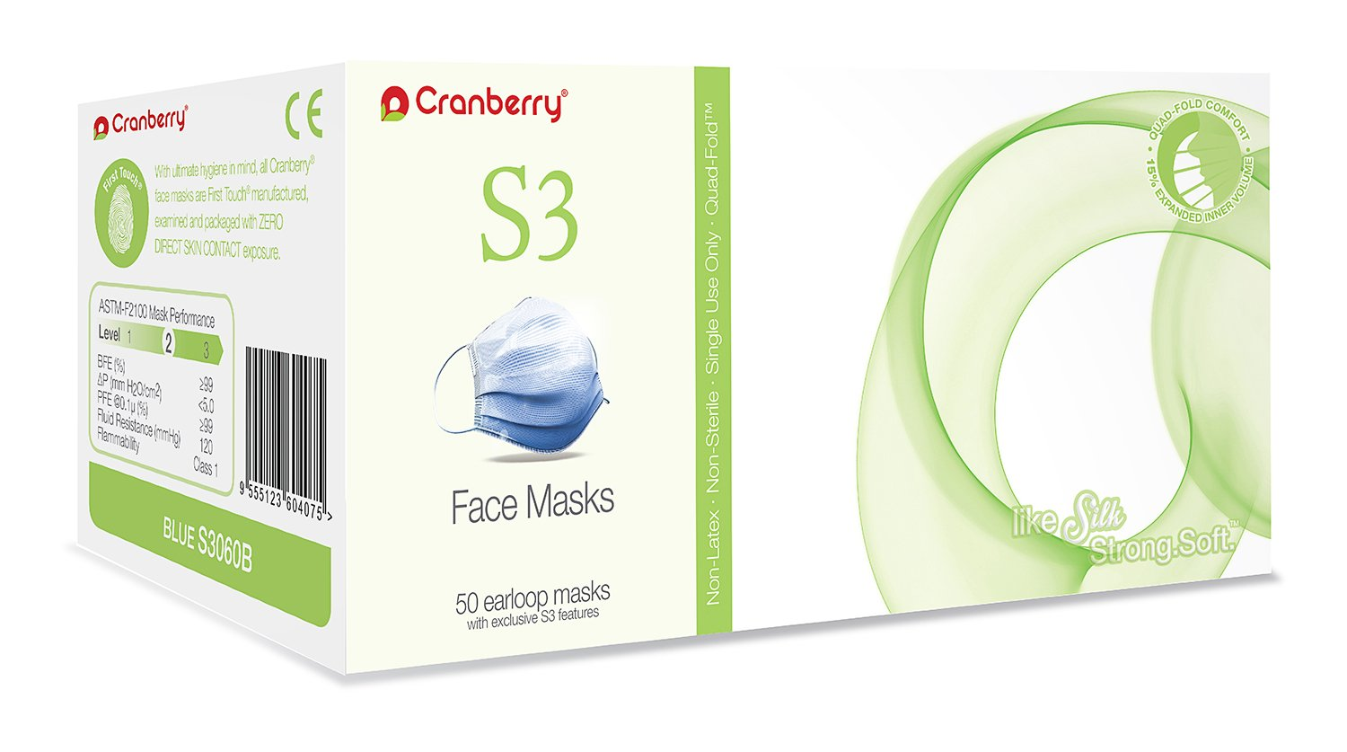 Cranberry USA S3060Bcase S3 Ear Loop Face Mask, ASTM Level 2, Blue (Pack of 400) by Cranberry USA
