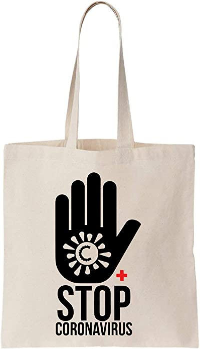NoMoreFamous Stop Virus Mask Algodón Bag Tote Bag: Amazon.es ...
