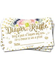 50 Diaper Raffle Tickets Gold Floral Brunch Baby Shower Theme - Gender Neutral Game Activity