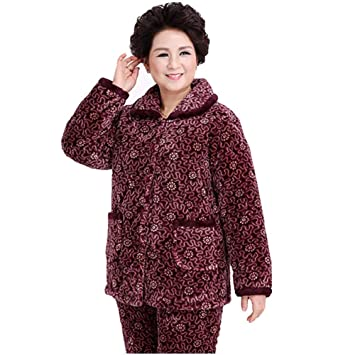 HXQ Espesamiento de franela para mujer pijamas,Juego largo de algodón Pj , Figure ,