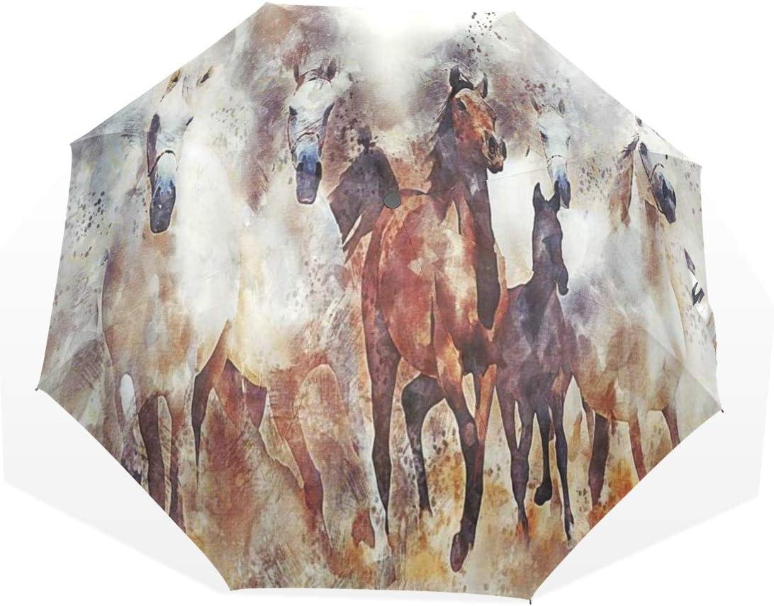 LASINSU Paraguas Resistente a la Intemperie,protección UV,Caballo Arte Pintura Vintage Estilo Oriental Marrón Bronceado Animal