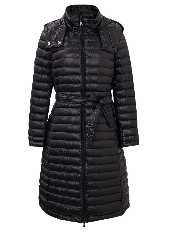 Meters/bonwe Women's Zip Front Long Solid Coat with Belt