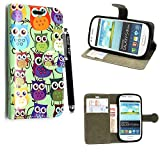 Samsung Galaxy S3 Mini i8190 Case, Kamal Star® PU Leather Flip Protective Magnetic Wallet Cover Case + Free Stylus ( Design 01 Multi Owl Book)