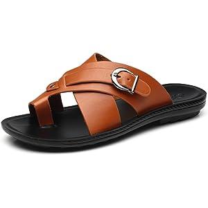 61b14e605 Faranzi Mens Sandals of Gladiator Style Leather Open Toe Outdoor Strap Heel  Sandals Fashion Casual Comfortable