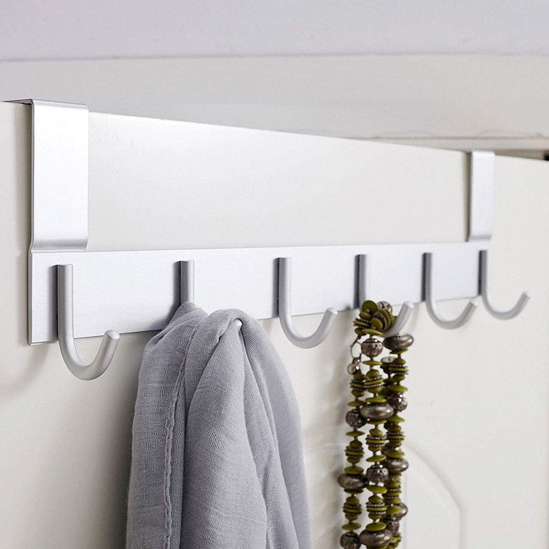 Clothes Coat Hooks for Bedroom Silver Towel Over Door Hanger for Coat Stand Extra Strong and Ultralight Clothes Hangers Helps for Tidy Rooms Bellkey Over Door Hooks with 5 Hooks