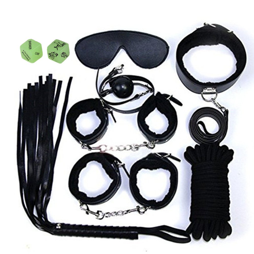 Health Lodge Bed Bondage Restraint 7-pcs Set Include Handcuffs Gag Whip Rope Collar PU Leather for Couples