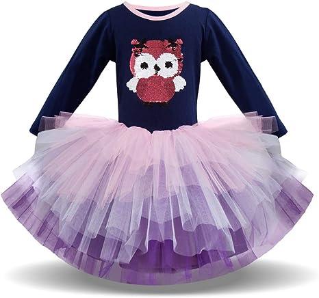 liqiqi Vestido para niña Princesa Búho Dibujos Animados Vestido ...