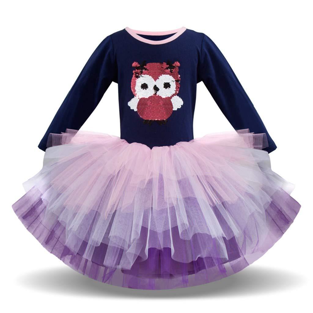 Baby Girls Dress Little Kids Toddler Girl Cartoon Owl Splice Tiered Sundress Little Princess Dresses Outfits Skirt