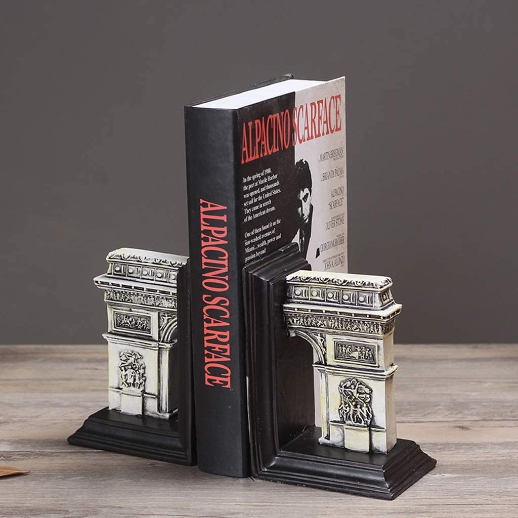 Bookends Nonskid Bookends Roman Ancient Architecture Arc De Triomphe Bookends Decorative Bookshelves Decor Gift 1 Pair Bookends Decorative