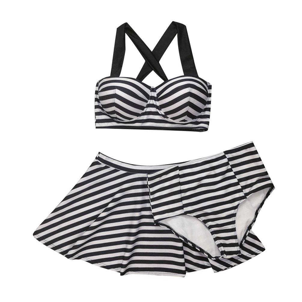 ZKOOO a Righe Costumi da Bagno Donna Ferretto Imbottito Bikini Tankini Push Up Costume da Mare 3 Pezzi Piscina Crop Tops Gonna Pantaloncini