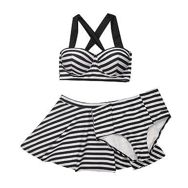 384004a7f05 ZKOOO Womens 3 Pieces Halter Bikini Sets Padded Underwire Bra Swimwear Push  Up Tankinis Black White Stripe Crop Top Skirts Swimsuit Bottom Plus Size   ...