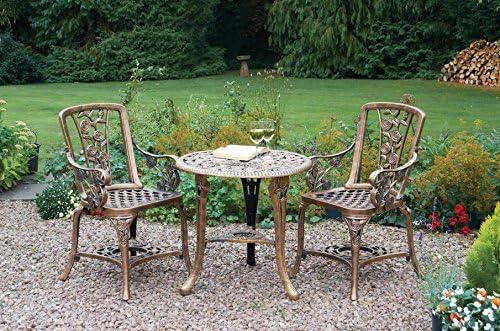 primrose.co.uk Mesa de Jardín de Invernadero, 2 sillas, Efecto Bronce Envejecido: Amazon.es: Jardín