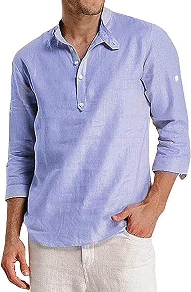 Camisa de Lino Hombre 3/4 Manga Larga Color Sólido Camisetas Solapa Slim Fit Henley Shirt Comodo Transpirable Suave Blusas de Trabajo: Amazon.es: Ropa y accesorios