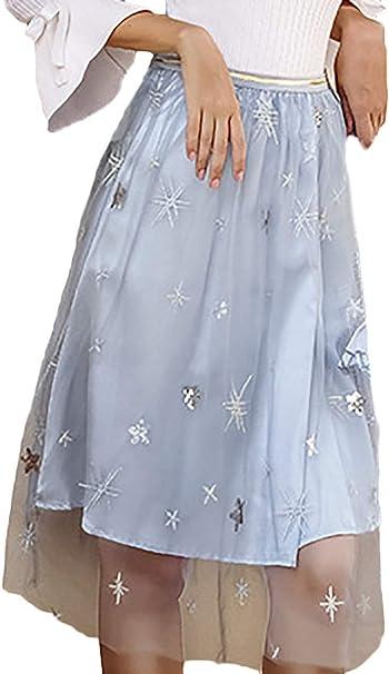 Faldas Mujer Moda Anchas A-Línea Cintura Falda Alta Falda Tul ...