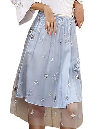 Faldas Mujer Moda Anchas Cintura Alta Falda Invierno Falda Tul ...
