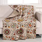 1 Piece 50x60 Brown Floral Throw Blanket, Red Orange Geometric Southwest Country Theme Bedding,Flowers Classic Traditional Quilted Reversible Polka Dot Pattern, Cotton