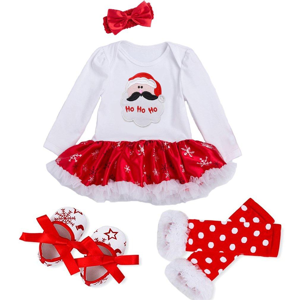 mode designer magasiner pour l'original sortie de gros Decstore Bébés Filles Mon 1er Noël Costume Robe de fête Tutu Outfit  ensemble 4PCS