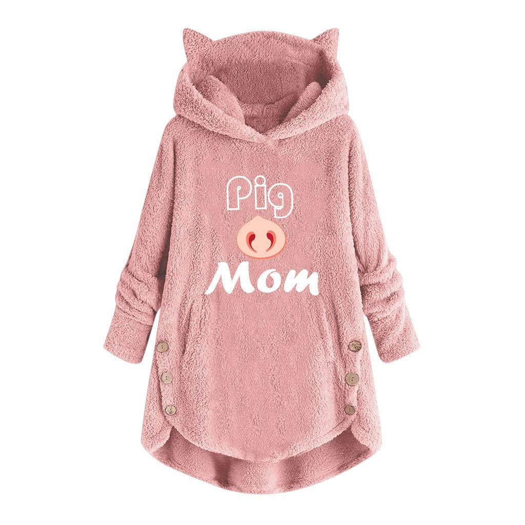 Fammison Women's Cat Ear Long Sleeve Letter Embroidery Sweatshirts Casual Hoodies Pullover Plus Size Pink by Fammison