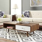 Walnut Coffee Table Modway EEI-2528-WAL-WHI Transmit Mid-Century Coffee Table in Walnut, White