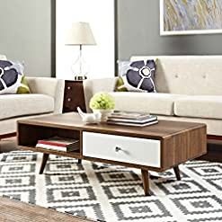 Living Room Modway Transmit Mid-Century Coffee Table, Walnut White modern coffee tables