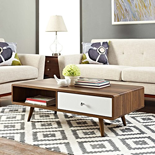 (Modway EEI-2528-WAL-WHI Transmit Mid-Century Coffee Table in Walnut, White)