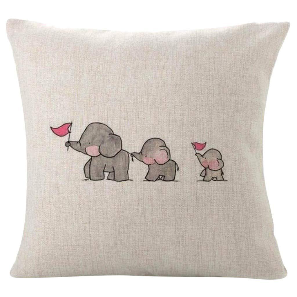 WOZOW - Funda para cojín, diseño de Tres Elefantes, 45 x 45 cm ...