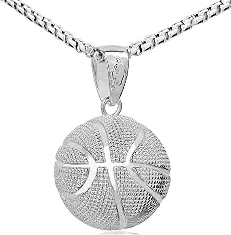 AILUOR Fashion Basketball Pendant Necklace Stainless Steel Chain Hip Hop Sports Necklace Fitness Jewelry