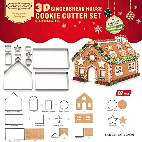 DIY 3D Gingerbread House Cookie Cutter Bake Set - Christmas/Holiday Cookie Cutter Set (Gingerbread House)