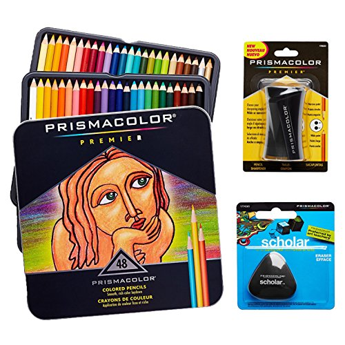 Prismacolor Quality Art Set   Premier Colored Pencils 48 Pack  Premier Pencil Sharpener 1 Pack And Latex Free Scholar Eraser 1 Pack