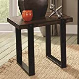 1PerfectChoice Simple 2-Tone Occasional Coffee Sofa End Table Twist Vintage Brown Metal Base Type: End Table