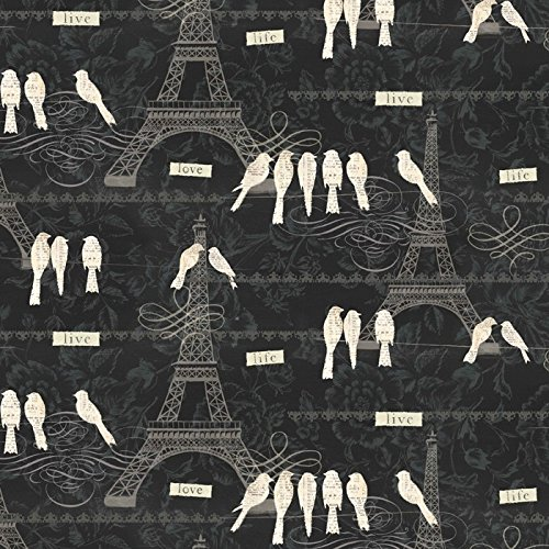 Paris Eiffel Tower Love Birds Cotton Fabric By The ()