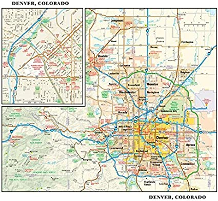 Denver, Colorado - Mapa de pared (11,5 x 9,75 pulgadas, plástico mate): Amazon.es: Oficina y papelería