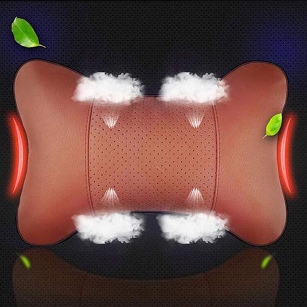 Zuionk 1pc Coj/ín del coj/ín del reposacabezas del asiento del reposacabezas del asiento del cuero de la PU del asiento del coche general Reposacabezas