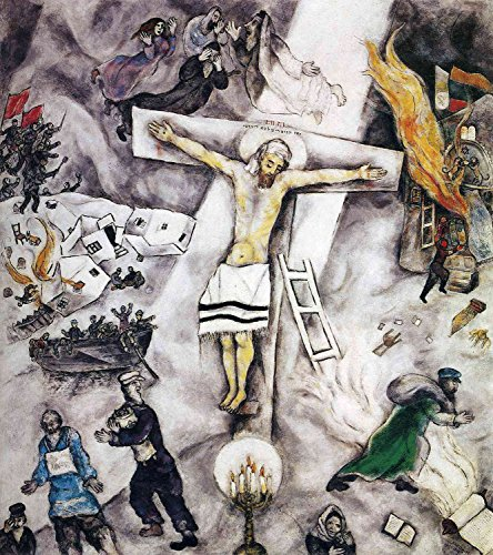 Marc Chagall - White Crucifixion, Size 20x24 inch, Poster Art Print Wall décor (Art Institute Of Chicago Most Famous Paintings)