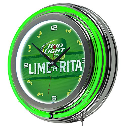 Trademark Gameroom Bud Light Lime-A-Rita Chrome Double Ring Neon - Bud Light Neon Clock