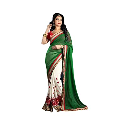 7f9adc425b Amazon.com: soleado enterprise Georgette Saree With Blouse Piece  (1320Sesn-4_Lf_Green_Free Size): Clothing