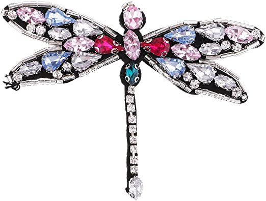 4Pcs Rhinestone Bee Dragonfly Beaded Patch Sewing on Applique DIY Decoration