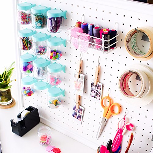 Pegboard Accessories Organizer Storage Jars - Crush & Impact Resistant Plastic Caddy Craft Jars - One-Handed Locking System - Garage Workbench, Crafting, Tools, Jewelry, Sewing - Set of 12 (Blue) by WORLD AXIOM (Image #8)