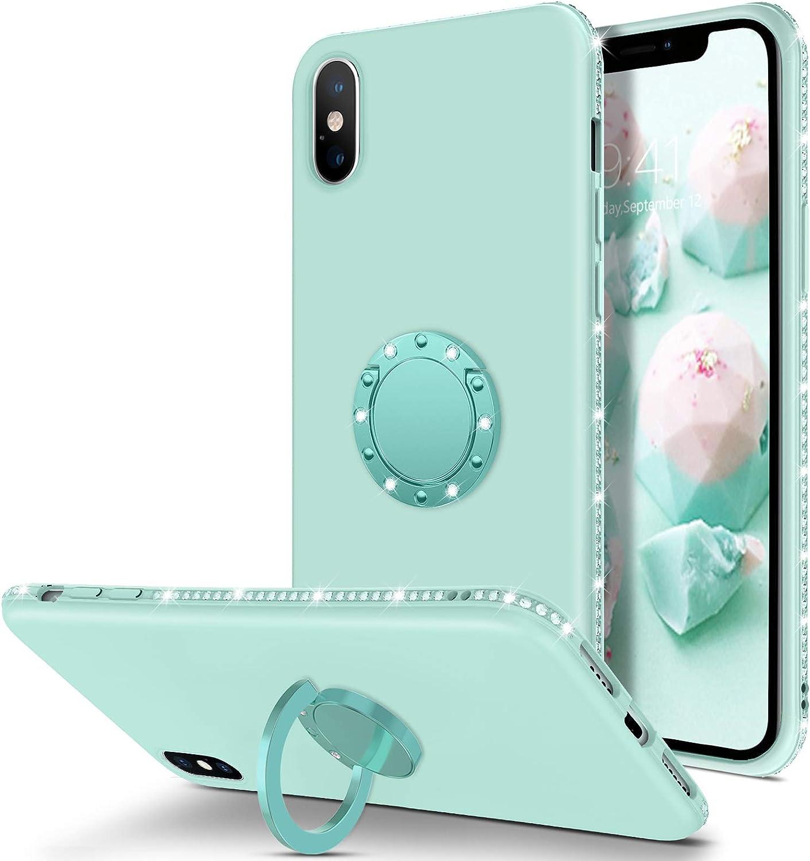 "BENTOBEN iPhone Xs Max Case, Slim Silicone | 360° Ring Holder Kickstand | Support Car Mount | Rhinestone Bumper Shockproof Women Girls Phone Case for iPhone Xs Max 6.5"" 2018, Light Green"