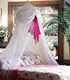 White & Pink Chiffon Furbelow Princess Bed Canopy By SID