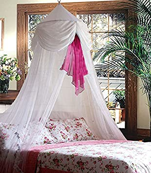 Amazon.com: White & Pink Chiffon Furbelow Princess Bed Canopy By ...