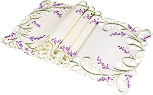Xia Home Fashions XD17107 Lavender Lace Embroidered Cutwork Placemats, 13 by 19-Inch, Ivory, 4 Piece
